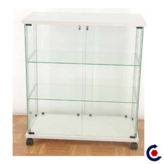 Tempered glass display case with 2 adjustable height shelves. Fantastic Motors made in France
